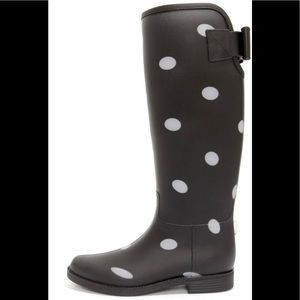 Dirty laundry polka dot bow tall rain boots 7